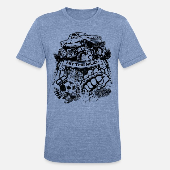Truck T-Shirts - Mudding Truck - Unisex Tri-Blend T-Shirt heather Blue