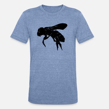 Black And White Stencil bee no.4 - Unisex Tri-Blend T-Shirt