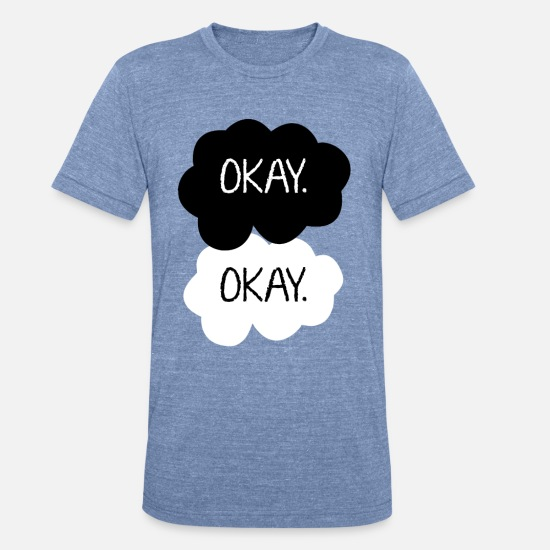 Couples T-Shirts - Okay. - Unisex Tri-Blend T-Shirt heather Blue