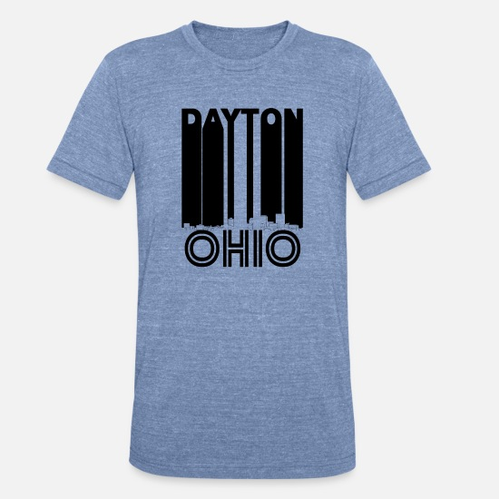 City T-Shirts - Retro Dayton Ohio Skyline - Unisex Tri-Blend T-Shirt heather Blue