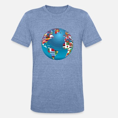 Globe World Map Globe Atlas National Flags Earth Day - Unisex Tri-Blend T-Shirt
