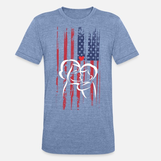 Mother's Day T-Shirts - Mothers Day Pride American Flag - Unisex Tri-Blend T-Shirt heather Blue