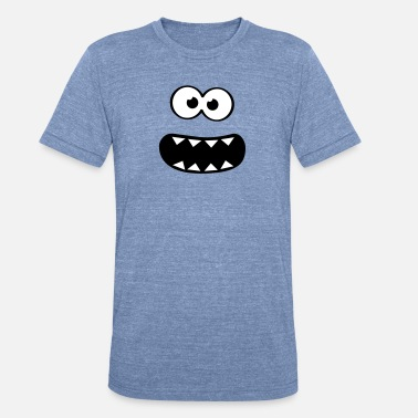 Sesame Street Kids  Funny Cookie Monster (Smiley Comic) Face  - Unisex Tri-Blend T-Shirt