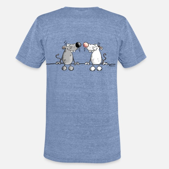 Love T-Shirts - Mice in Love - Unisex Tri-Blend T-Shirt heather Blue