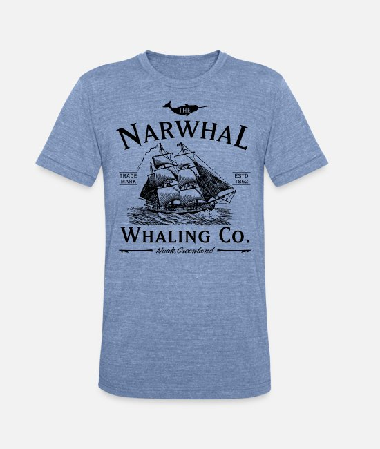 Narwhal T-Shirts - The Narwhal Whaling Company - Unisex Tri-Blend T-Shirt heather Blue