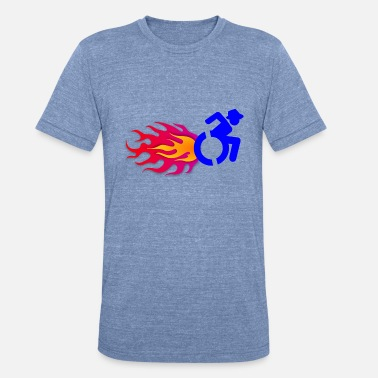 Flames and wheelchair, fast, wheelchair on fire - Unisex Tri-Blend T-Shirt