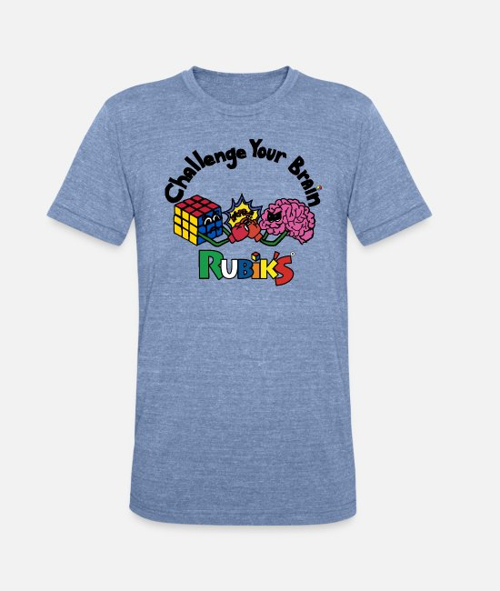 Rubik's Cube T-Shirts - Rubik's Cube Challenge Your Brain - Unisex Tri-Blend T-Shirt heather Blue