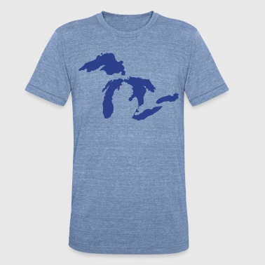 The Great Lakes Design Michigan SIlhouette Vector - Unisex Tri-Blend T-Shirt