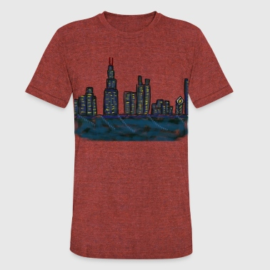 CITYMELTS CHICAGO SKYLINE - Unisex Tri-Blend T-Shirt