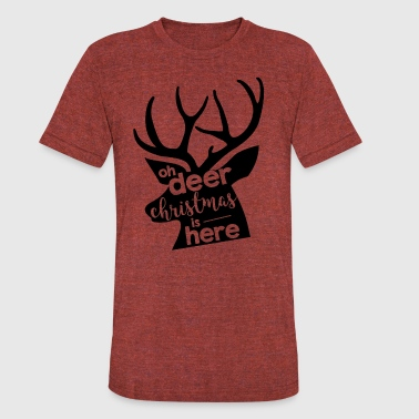 oh deer christmas is here - Unisex Tri-Blend T-Shirt