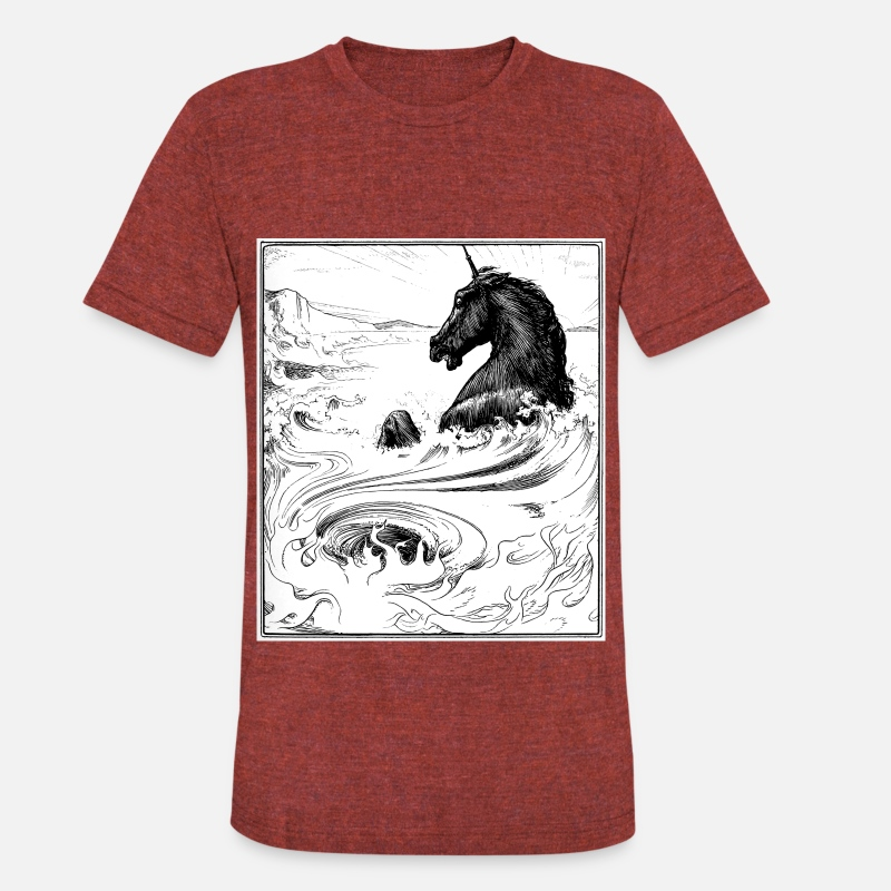 Black T-Shirts - The Black Unicorn - Unisex Tri-Blend T-Shirt heather cranberry
