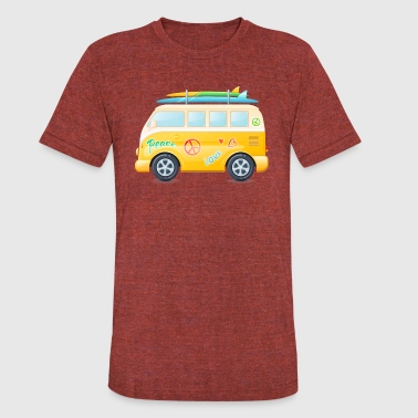Hippie Van Peace And Love Peace and Love Surf Van - Unisex Tri-Blend T-Shirt