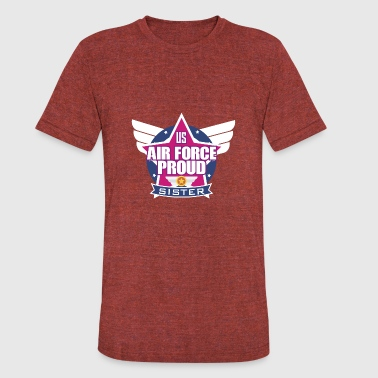 Airforce Sister Army US Air Force Proud Sister Emblem Stars Wings - Unisex Tri-Blend T-Shirt