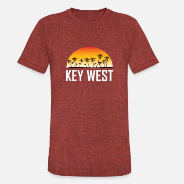Key-west Key West Florida Sunset And Palm Trees Beach - Unisex Tri-Blend T-Shirt