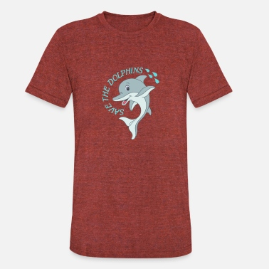 Environmental Message Save the Dolphins - Natural Environmental message - Unisex Tri-Blend T-Shirt
