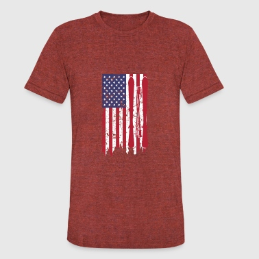 US flag with skis and ski poles as stripes - Unisex Tri-Blend T-Shirt