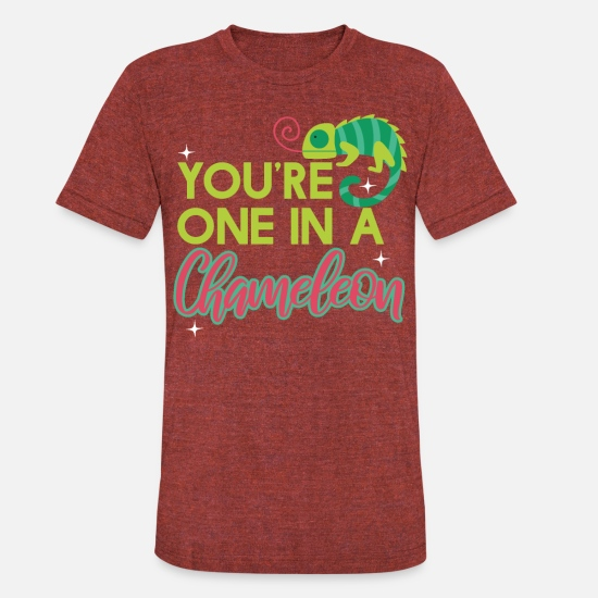 Frog T-Shirts - Cute You're One In A Chameleon Pun Lizard gift - Unisex Tri-Blend T-Shirt heather cranberry