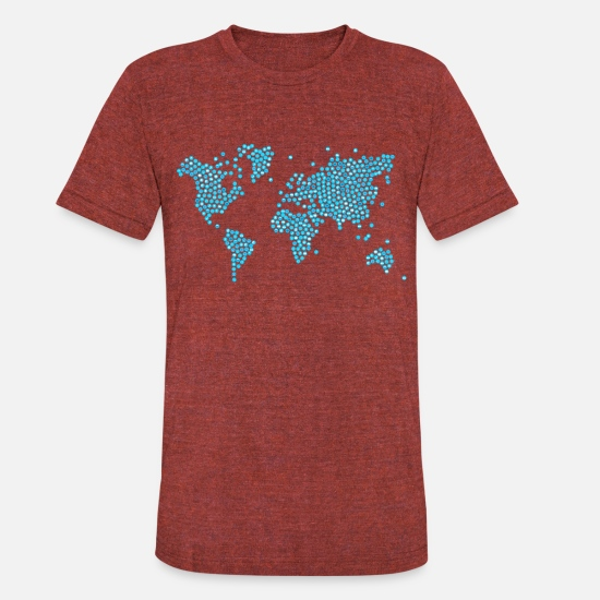 World Map T-Shirts - world map icon - Unisex Tri-Blend T-Shirt heather cranberry