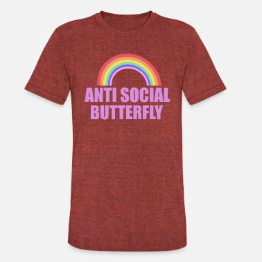 Antisocial Anti Social Butterfly Design - Unisex Tri-Blend T-Shirt