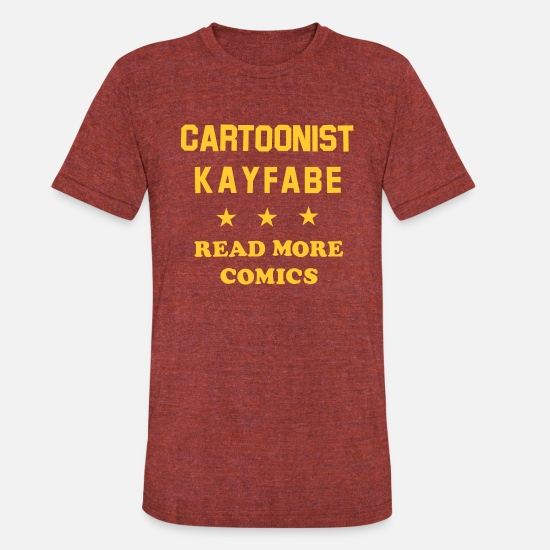 Comics T-Shirts - Cartoonist Kayfabe *** Read More Comics (Yellow) - Unisex Tri-Blend T-Shirt heather cranberry