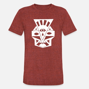Aztec Face ancient tribal indian mask warrior war god warlord - Unisex Tri-Blend T-Shirt