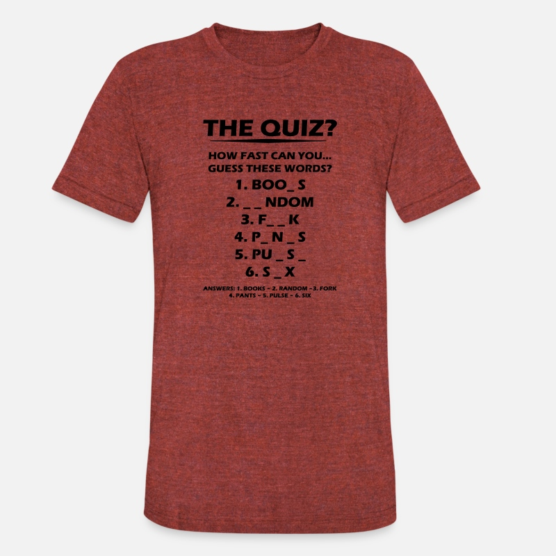 The Quiz Unisex Tri-Blend T-Shirt - heather cranberry