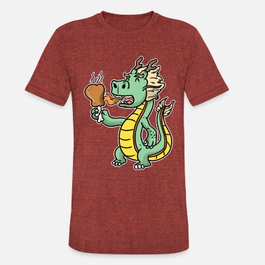 Gourmet CUTE DRAGON hungry chicken grill Fast food Snack - Unisex Tri-Blend T-Shirt