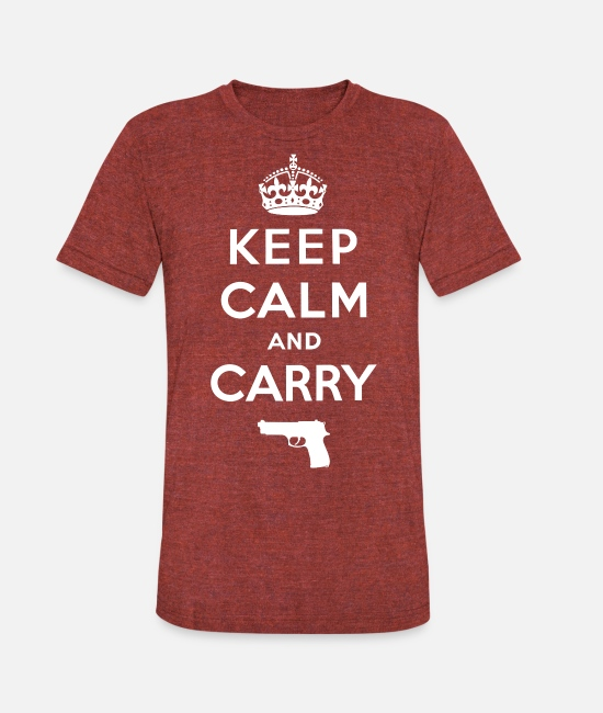 Calm T-Shirts - Keep Calm and Carry - Unisex Tri-Blend T-Shirt heather cranberry