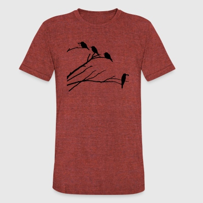 Birds on Tree Silhouette - Unisex Tri-Blend T-Shirt by American Apparel