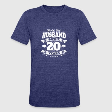 Wedding Day 20th Anniversary Gift Husband Hubby - Unisex Tri-Blend T-Shirt