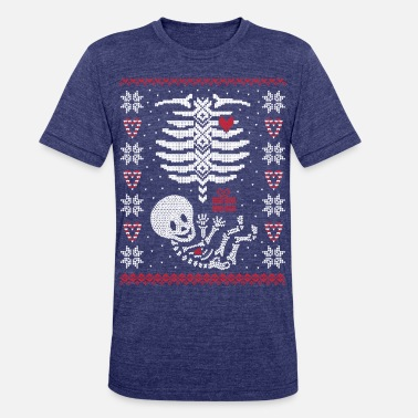 ugly maternity baby belly ugly christmas sweater unisex tri blend t shirt - Maternity Ugly Christmas Sweater