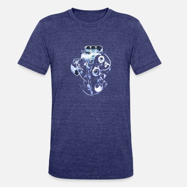 Engine Block T Shirt Blue Big Block Engine - Unisex Tri-Blend T-Shirt