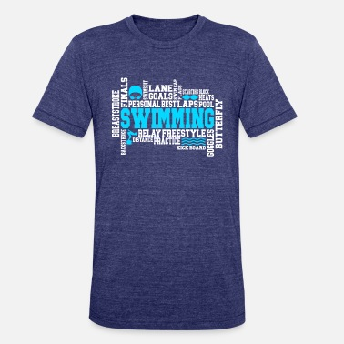 Swimsuit Swimming Gift Word Cloud for Swimmer Athletes - Unisex Tri-Blend T-Shirt