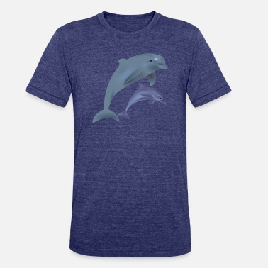 Dolphin dolphins - Unisex Tri-Blend T-Shirt