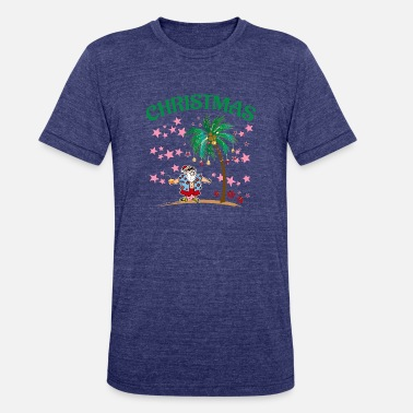 Tropical Christmas In July Funny Santa Claus Tropical Beach - Unisex Tri-Blend T-Shirt