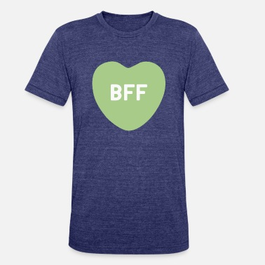 Bff Hearts BFF Green Candy Heart - Unisex Tri-Blend T-Shirt
