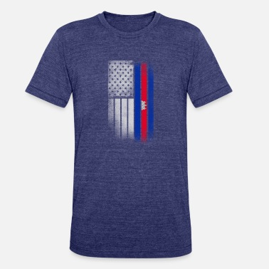 Funny Cambodian Cambodian American Flag - Unisex Tri-Blend T-Shirt
