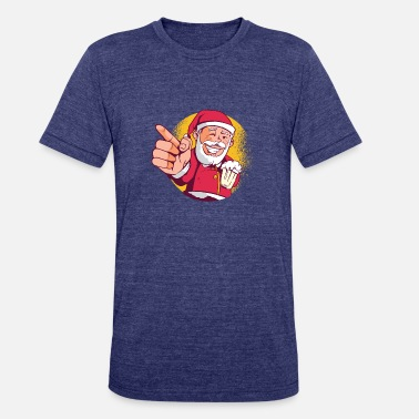 Santa Claus with Beer | Funny T-Shirt - Unisex Tri-Blend T-Shirt