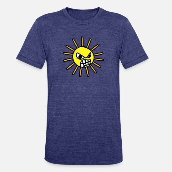 Sun T-Shirts - Angry Sun Funny - Unisex Tri-Blend T-Shirt heather indigo