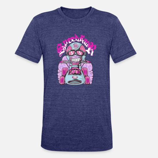 Car T-Shirts - T Shirt Speed Rider super car racing vector image - Unisex Tri-Blend T-Shirt heather indigo
