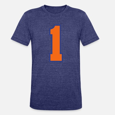 Jersey Number Sports Jersey - Number 1 (2-color custom) - Unisex Tri-Blend T-Shirt
