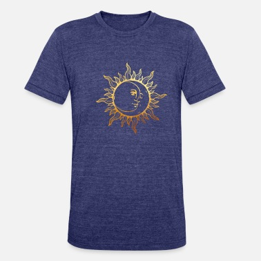 Esotericism Golden sun with sunrays, Yoga, esotericism - Unisex Tri-Blend T-Shirt