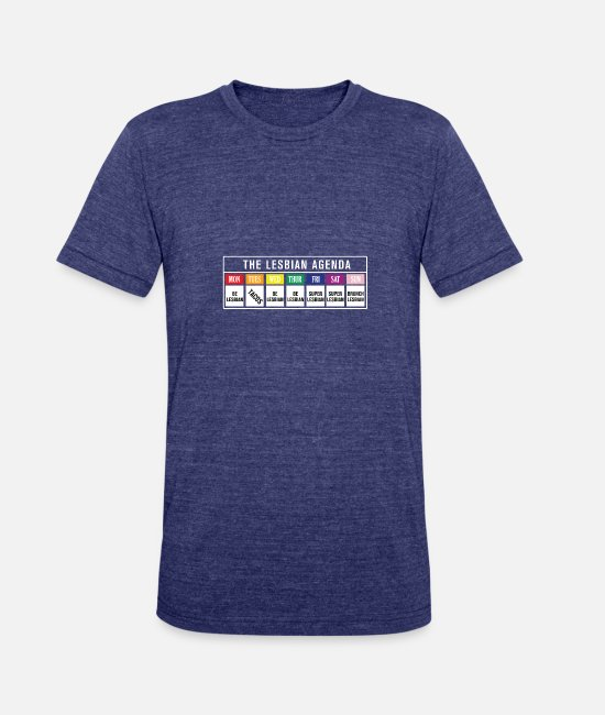 The Lesbian Agenda T-Shirts - The Lesbian Agenda - Unisex Tri-Blend T-Shirt heather indigo