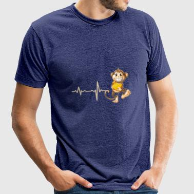 gift heartbeat monkey with banana - Unisex Tri-Blend T-Shirt by American Apparel