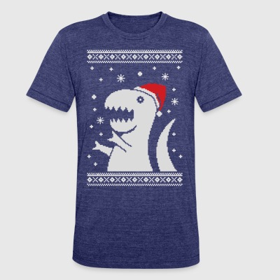 Big Trex Santa Ugly Christmas Sweater T-shirt - Unisex Tri-Blend T-Shirt by American Apparel
