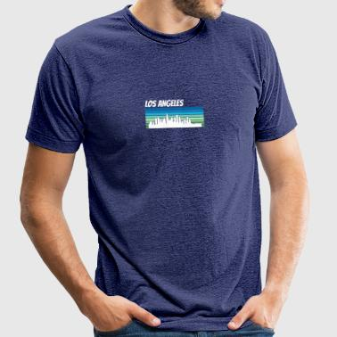 Retro Los Angeles Skyline - Unisex Tri-Blend T-Shirt by American Apparel