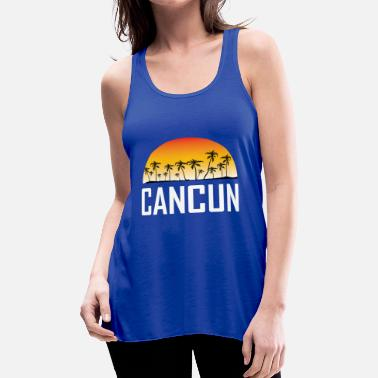 70d6d4cf05a042 Cancun Cancun Mexico Sunset And Palm Trees Beach - Women  39 s Flowy Tank