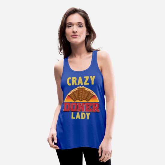 Crazy Eights Tank Tops - Crazy doner lady - Women's Flowy Tank Top royal blue