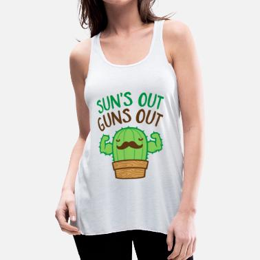 Out Sun's Out Guns Out Macho Cactus - Women's Flowy Tank Top
