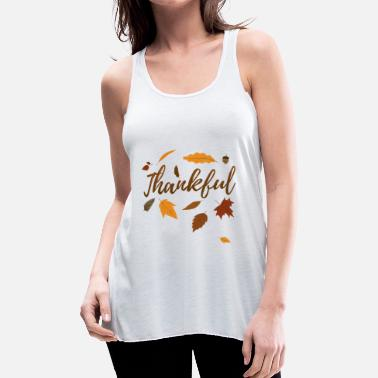 Pregnancy Announcement Thankful Autumn Thanksgiving Day Gift Fall Love - Women's Flowy Tank Top by Bella